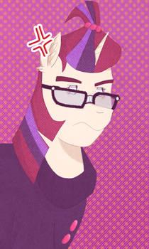grumpy glasses pony.