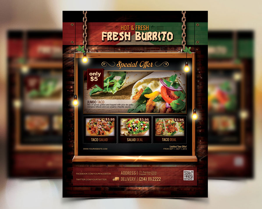 Mexican Food Restaurant Flyer Poster by tripleninedesign on DeviantArt