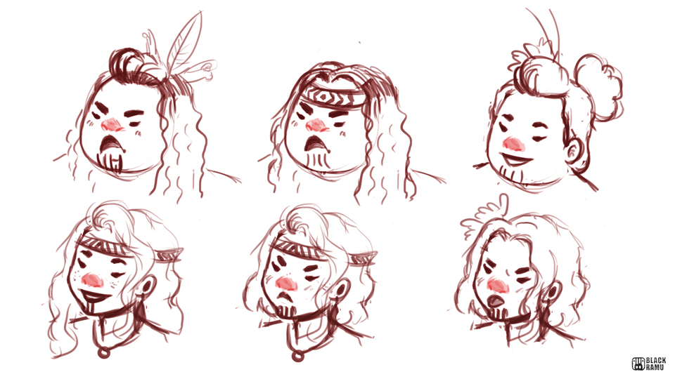 Maori Women Sketches by BlackRamu