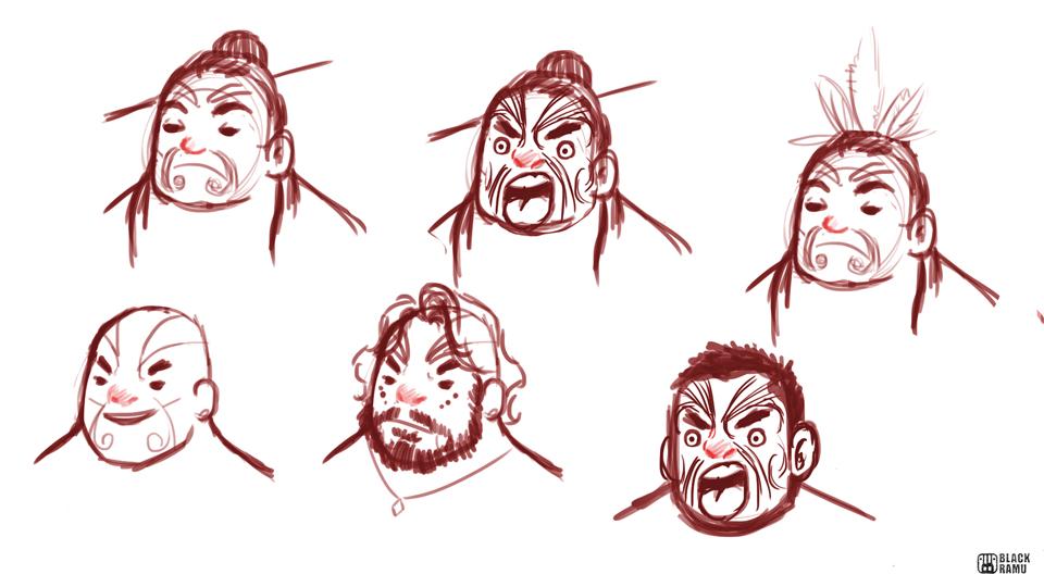 Maori Men Sketches by BlackRamu
