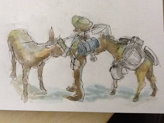 Lunch Sketch- Prospector and Mules by GilTriana