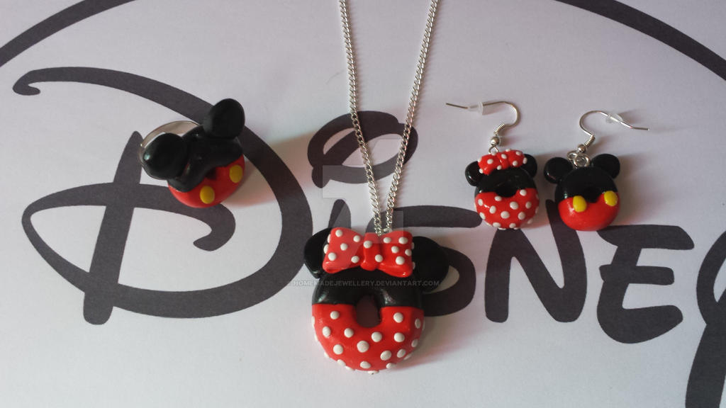 parure bijoux donut mickey minnie en pate fimo by homemadejewellery on deviantart