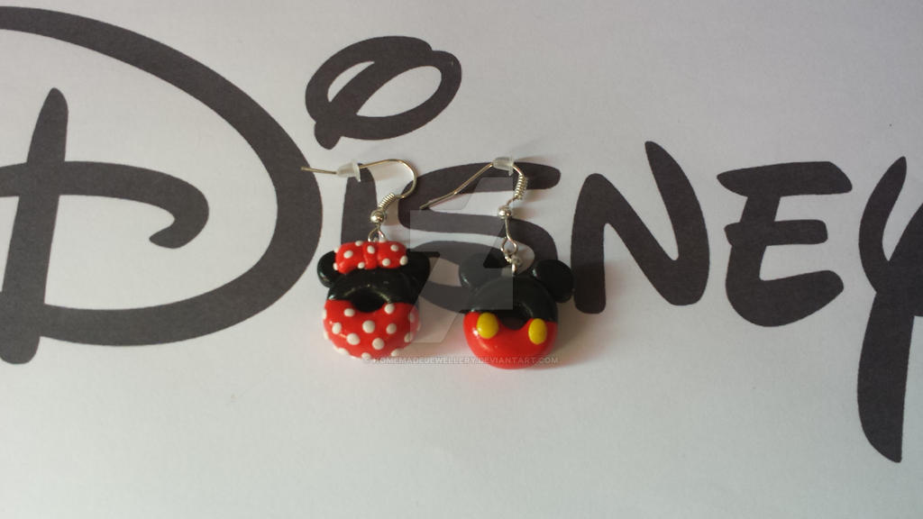 boucles d oreille mickey et minnie en pate fimo by homemadejewellery on deviantart