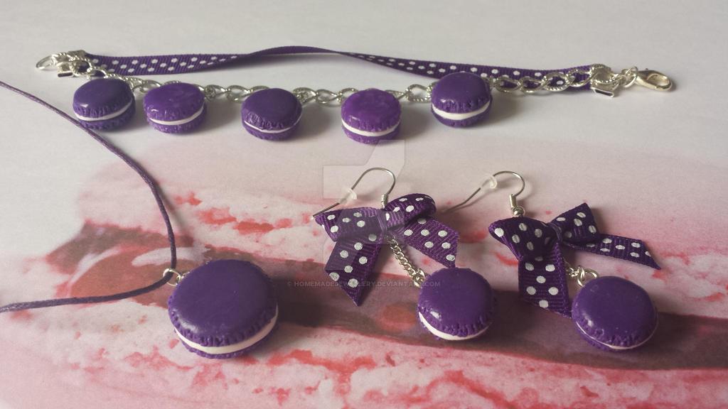 parure bijoux macarons violet en pate fimo by. Black Bedroom Furniture Sets. Home Design Ideas