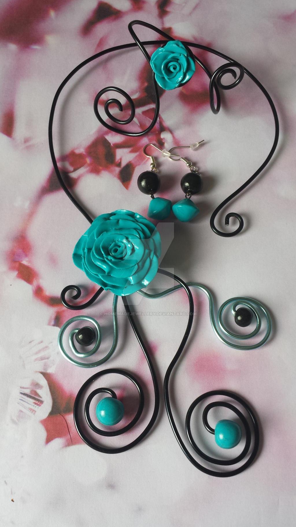 parure bijoux pour mariage ou bapteme rose bleue by With parure bijoux pour mariage