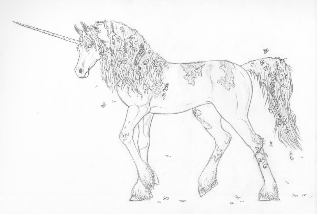 Line Art Unicorn : Unicorn line art wip by mysteriouswhitewolf on deviantart