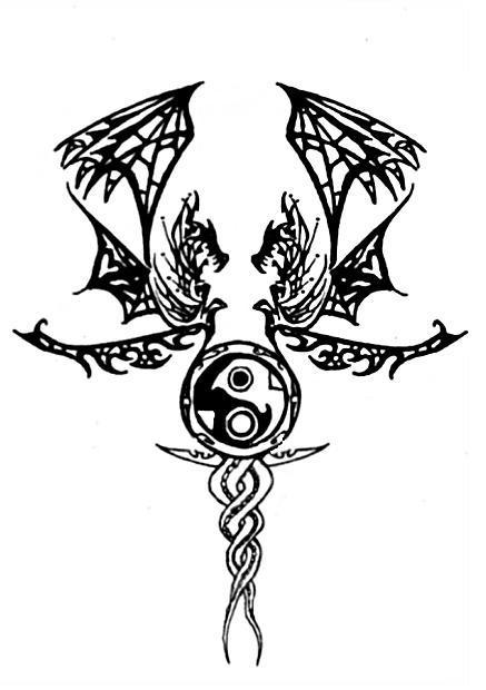 twin dragon symbol. Black Bedroom Furniture Sets. Home Design Ideas