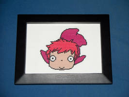 ponyo cross stitch by eevilkat