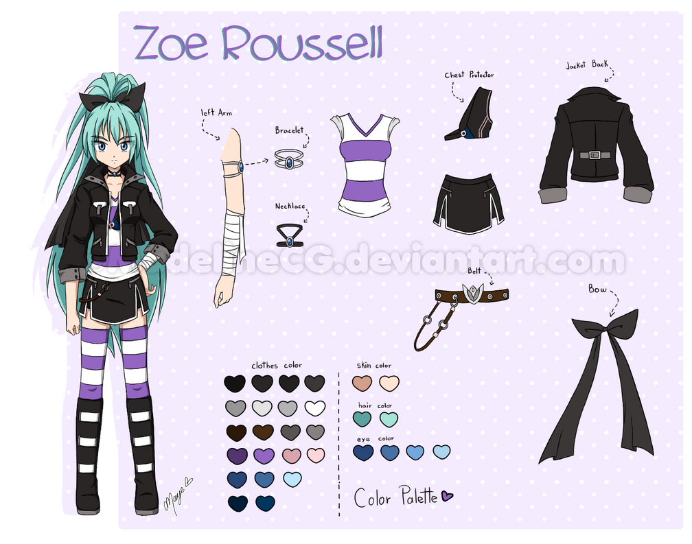Character Design Ref Sheet : Zoe roussell character reference sheet by madelinecg on