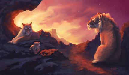 Feline family by Omar-Atef