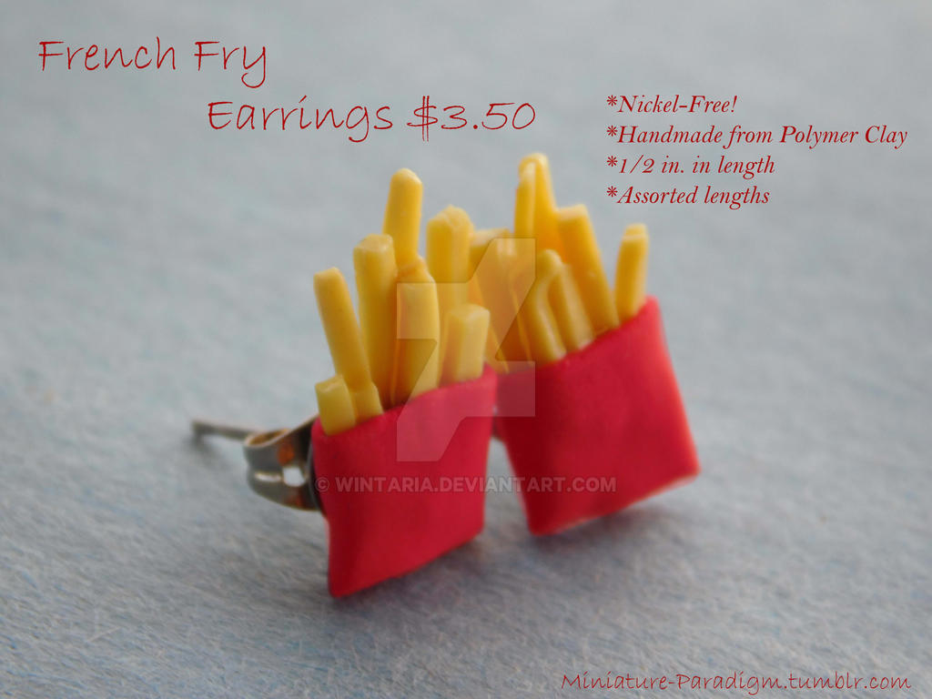 French Fry Stud Earrings by Wintaria