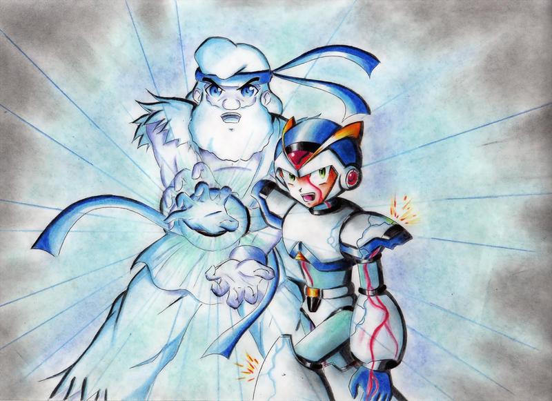 X and Dr Light HADOUKEN by Akira-Hikari