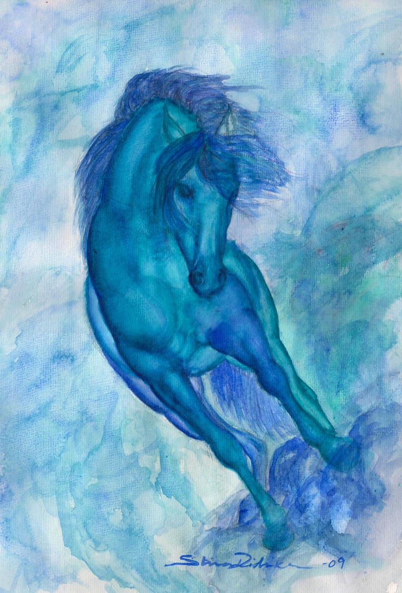 Blue horse by Midnight-Sun-Art