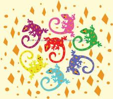 Colorful Lizards by TheKohakuDragon