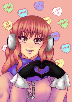Pink Candy Heart Girl