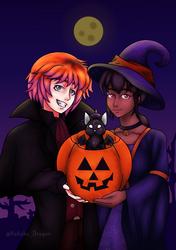 Happy Halloween! - Gamma and Lyra by TheKohakuDragon