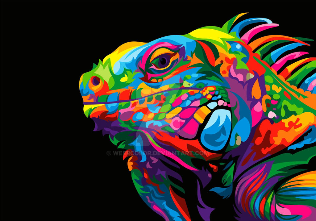 Iguana Colorful Vector Illustration by weercolor
