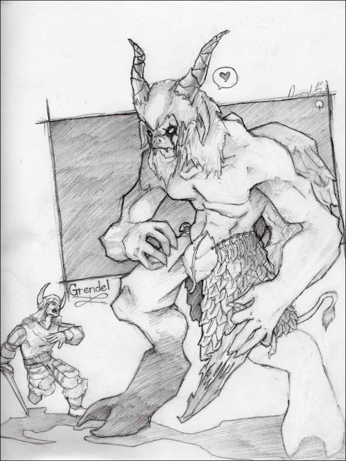 how to draw grendel from beowulf