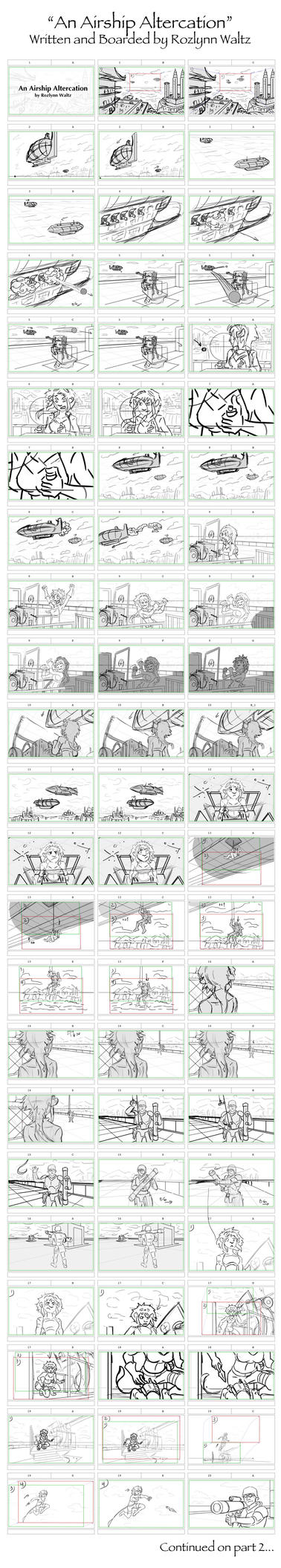 An Airship Altercation - Storyboards - Part 1 by RozlynnWaltz