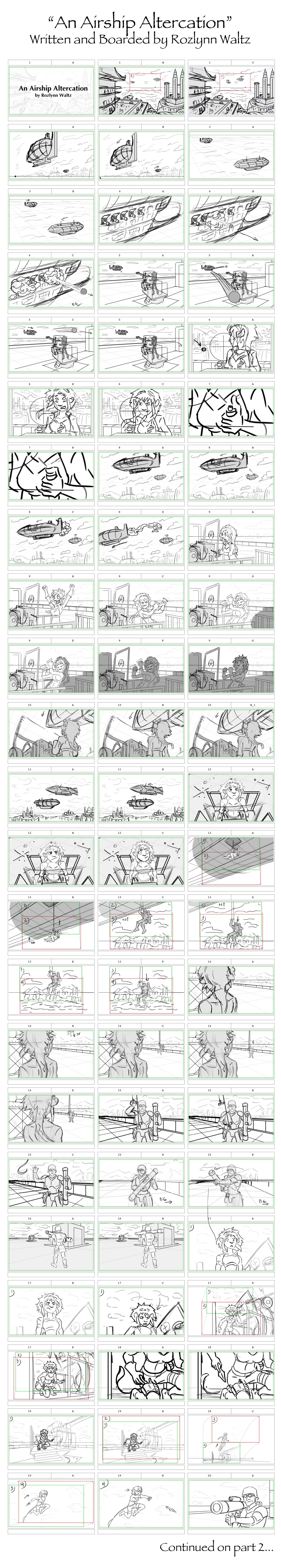 An Airship Altercation - Storyboards - Part 1 by RozlynnWaltz