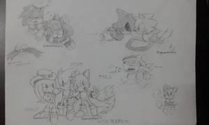 Sketches// Ova sanics by ARTPhantom15