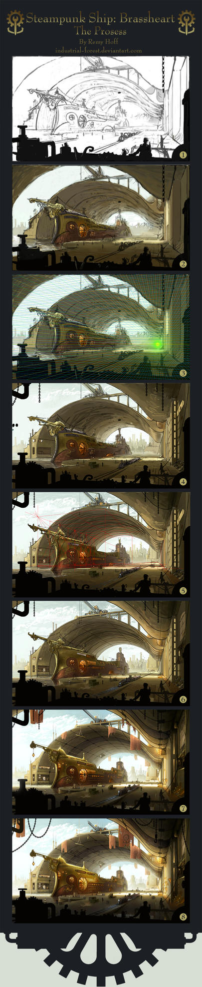 Process of Steampunk Ship: BH by Roseum