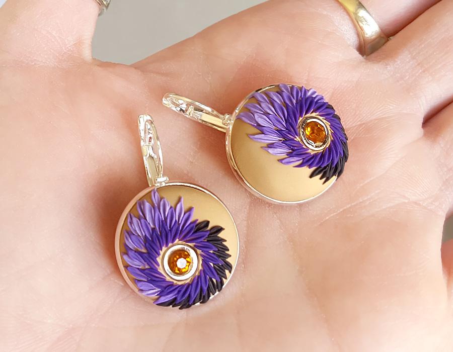 Polymer Clay Filigree Purple Earrings by Somnambula81