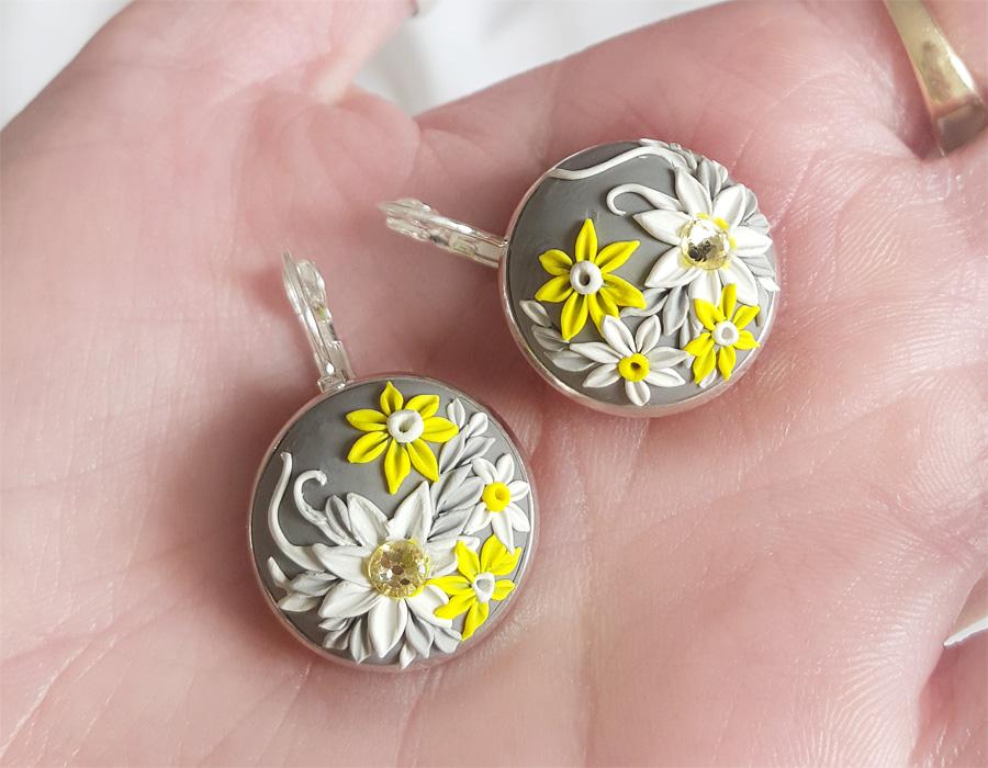 Handmade Polymer Clay Earrings - Yellow-White-Grey by Somnambula81