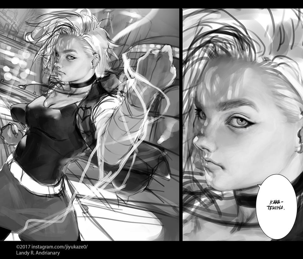 Android 18 composition practice number 3 by Jiyu-Kaze
