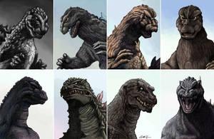 The Evolution of Godzilla by monsterartist