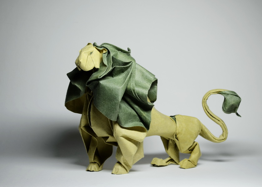 make easy origami instructions kids: origami Lion Goubergen 3D | 600x840