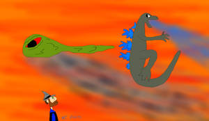 Godzilla and Hedorah in Flight