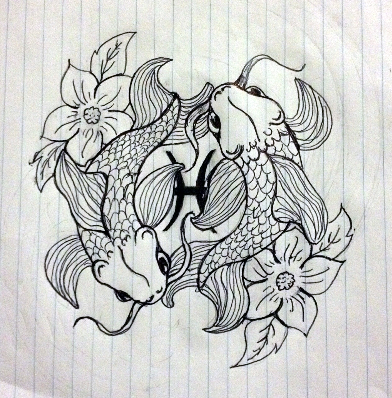 Drawings pisces fish symbol for Koi fish pisces