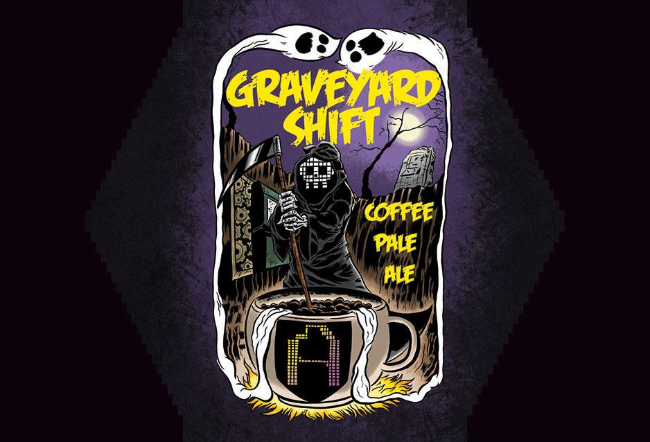 Graveyard Shift Beer Label - Arcade Brewery by spicypeanut