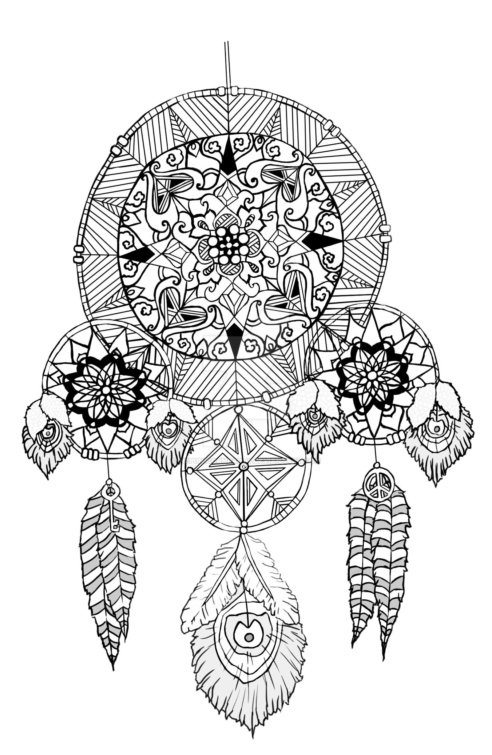 Dream catcher line art by nepunicornparty on deviantart for Dreamcatcher tattoo template