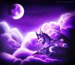 Violet Moon in the Clouds