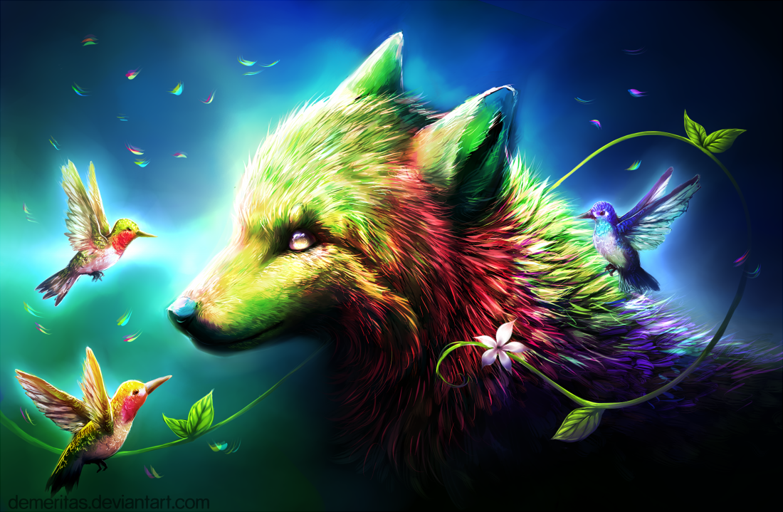 Wolf Of Many Colors By Demeritas : Rainbow