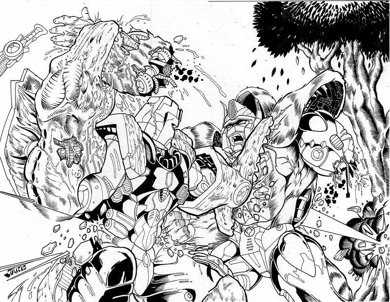 Primal vs Megs by Inker-guy on DeviantArt