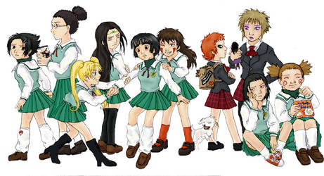 Naruto boys as school girls