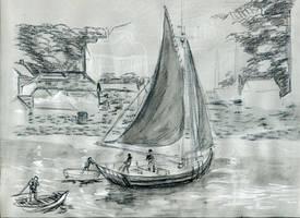 Gray Boat Sketch