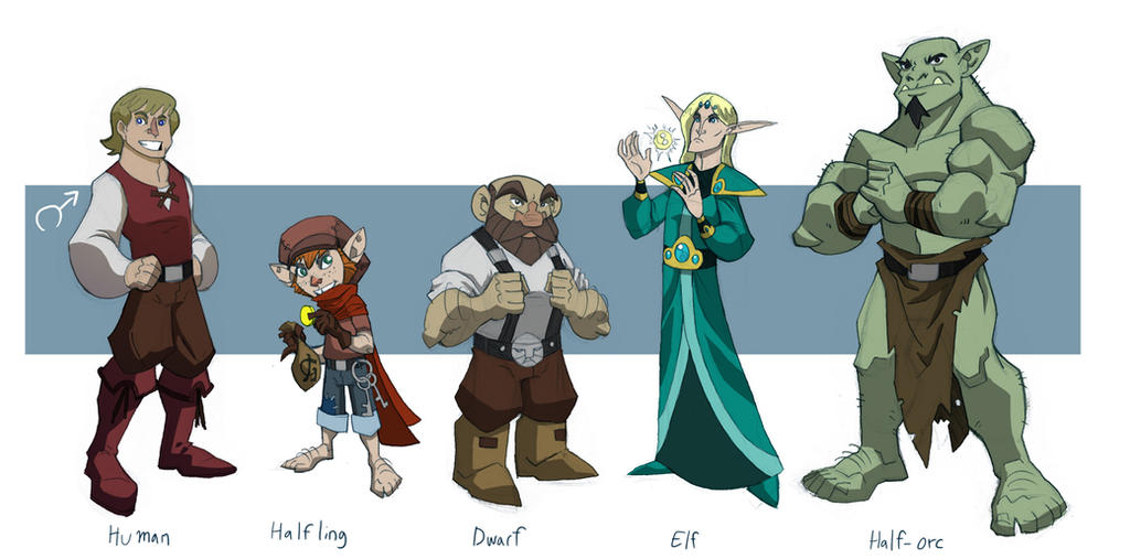Standard RPG races, Male by chieforc on DeviantArt