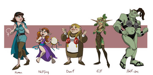 Standard RPG Races, Female by chief-orc