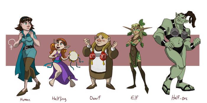 Standard RPG Races, Female
