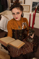 [STOCK] Steampunk girl with book and chandelier by rufflesandsteam