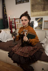 [STOCK] Steampunk girl with book and chandelier 2 by rufflesandsteam