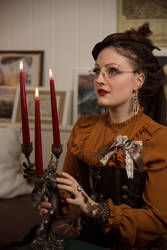 [STOCK] Steampunk Girl with chandelier by rufflesandsteam