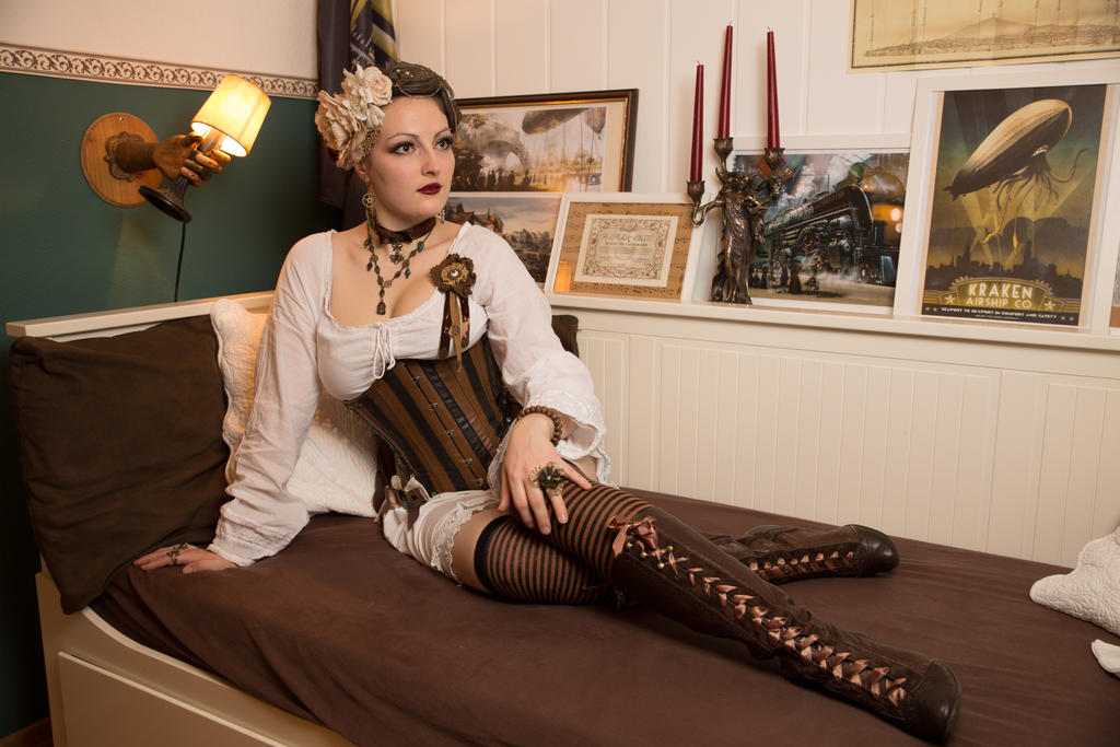[STOCK] Steampunk Girl in Corset and Bloomers by rufflesandsteam