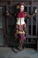 [STOCK] Steampunk Circus Girl in front of cage by rufflesandsteam