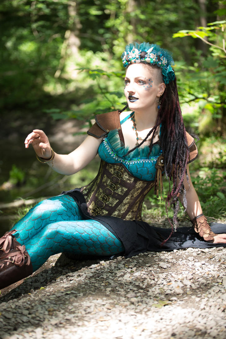 [STOCK] Steampunk mermaid sitting by a lake by AyraLeona