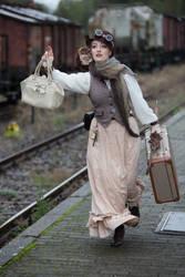 [STOCK] Running Steampunk girl at train station by rufflesandsteam